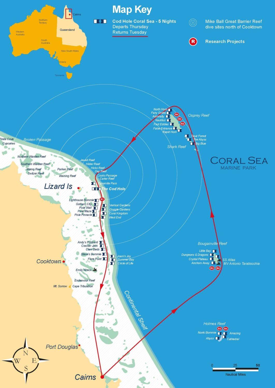 コーラルシー&コッドホールエクスペディションルートマップ