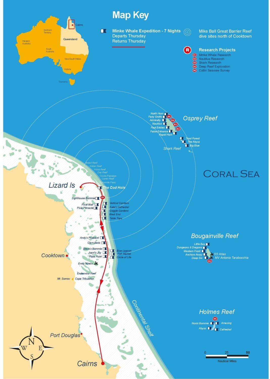 7泊8日究極のミンククジラクルーズルートマップ